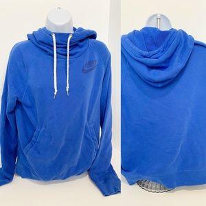 NIKE Long Sleeve Cowl Neck Sweatshirt Blue  SZ L